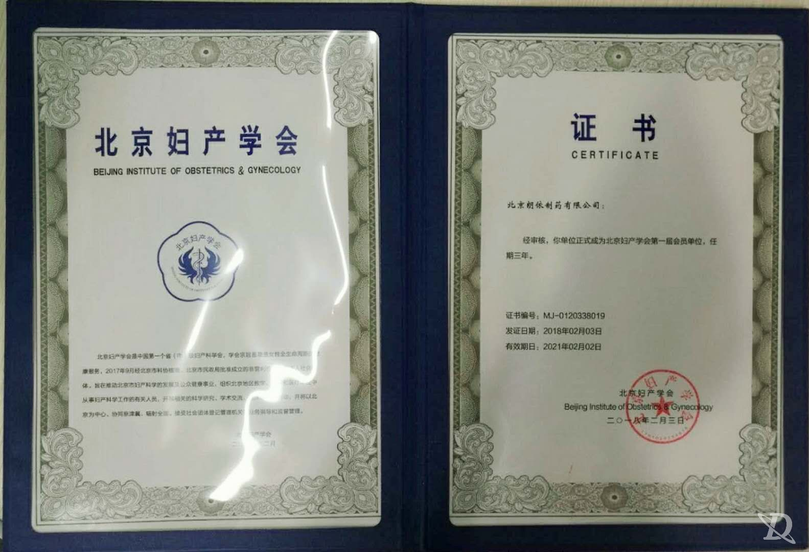 金城朗依成为北京妇产学会第一届会员单位